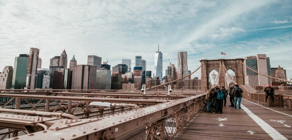 New york people on bridge
